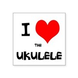 "I HEART the UKULELE Square Sticker 3"" x 3"""