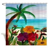 Tropical Floral Beach Shower Curtain