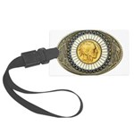 Indian gold oval 3 Large Luggage Tag