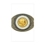 Indian gold oval 3 Sticker (Rectangle 50 pk)