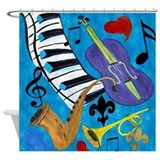 Jazz on Blue Shower Curtain