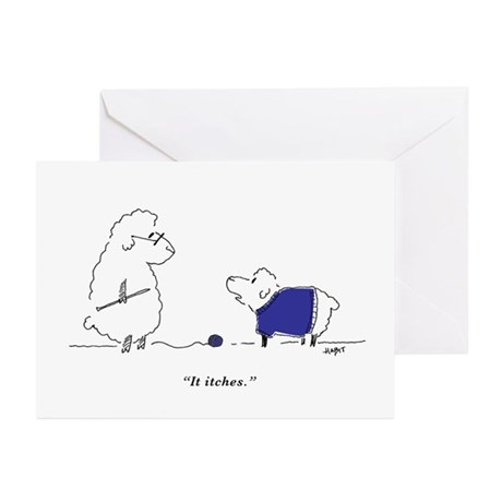 Itchy Lamb Cards (six, blank inside)