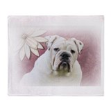 bulldog with pink background Throw Blanket