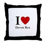 I Love Devon Rex Throw Pillow