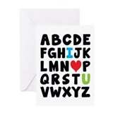 I heart U alphabet Greeting Card