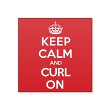 "Keep Calm Curl Square Sticker 3"" x 3"""