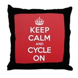 Keep Calm Cycle Throw Pillow