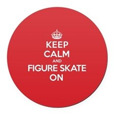 Keep Calm Figure Skate Round Car Magnet