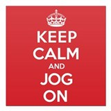 "Keep Calm Jog Square Car Magnet 3"" x 3"""