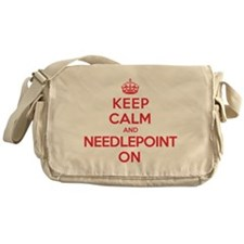 Keep Calm Needlepoint Messenger Bag