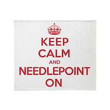 Keep Calm Needlepoint Throw Blanket