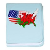 American Welsh Map baby blanket