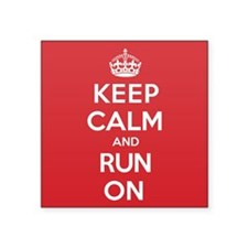 "Keep Calm Run Square Sticker 3"" x 3"""