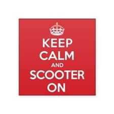 "Keep Calm Scooter Square Sticker 3"" x 3"""