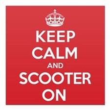 "Keep Calm Scooter Square Car Magnet 3"" x 3"""