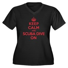 K C Scuba Dive On Women's Plus Size V-Neck Dark T-