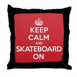 K C Skateboard On Throw Pillow