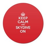 K C Skydive On Round Car Magnet