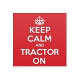 "K C Tractor On Square Sticker 3"" x 3"""
