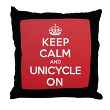 K C Unicycle On Throw Pillow