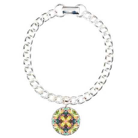 Four Flower Kaleidoscope Charm Bracelet, One Charm