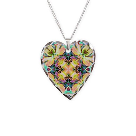 Four Flower Kaleidoscope Necklace Heart Charm