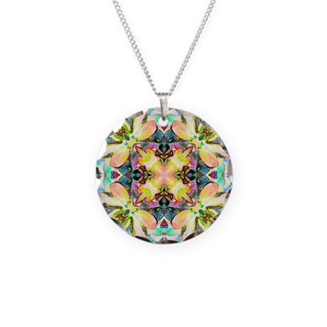 Four Flower Kaleidoscope Necklace Circle Charm