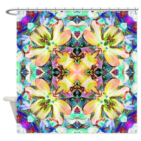 Four Flower Kaleidoscope Shower Curtain