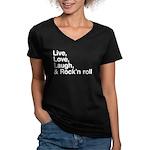 Rock and roll Women's V-Neck Dark T-Shirt