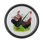 Heavy Breed Roosters Large Wall Clock