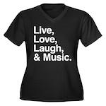 love and music Women's Plus Size V-Neck Dark T-Shi