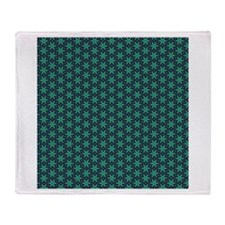 Green and Navy star pattern Throw Blanket
