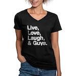 love and guys Women's V-Neck Dark T-Shirt