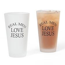 Real Men Love Jesus Drinking Glass