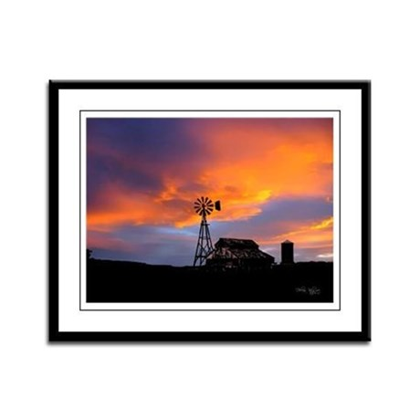 Sunset on the Farm Framed Panel Print