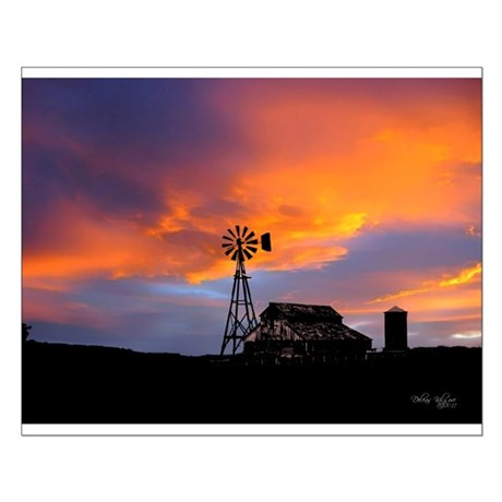 Sunset on the Farm Small Poster