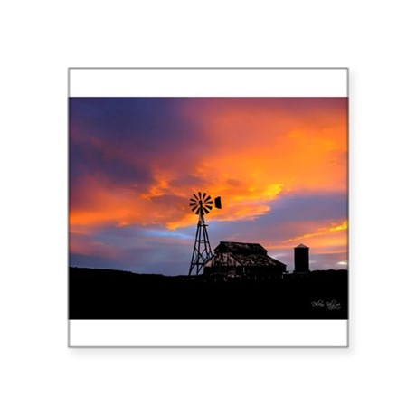"Sunset on the Farm Square Sticker 3"" x 3"""