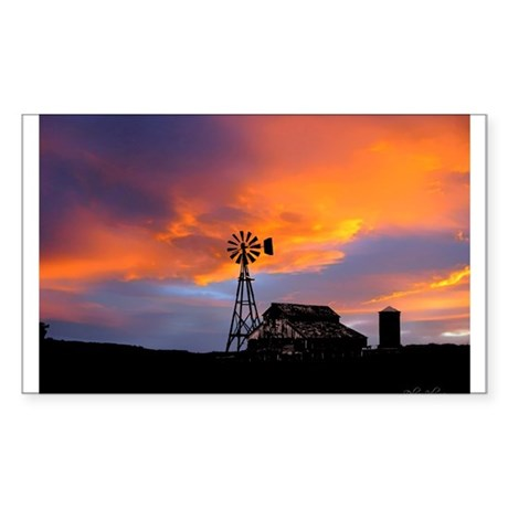 Sunset on the Farm Sticker (Rectangle)