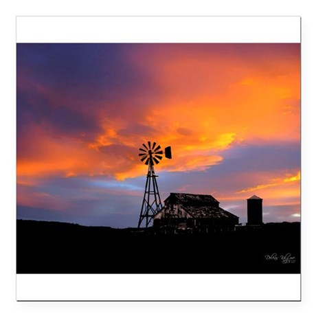 "Sunset on the Farm Square Car Magnet 3"" x 3"""