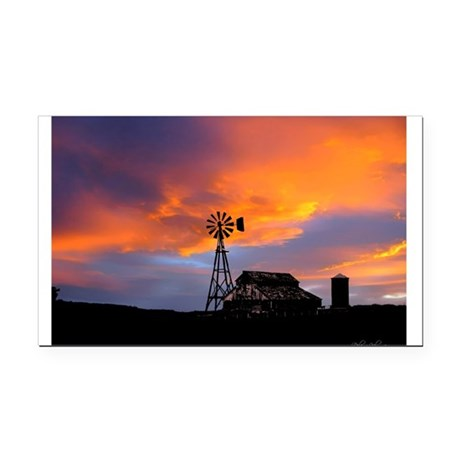 Sunset on the Farm Rectangle Car Magnet