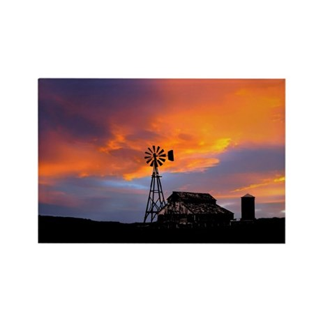 Sunset on the Farm Rectangle Magnet (100 pack)