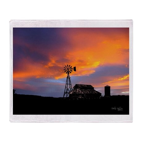 Sunset on the Farm Throw Blanket