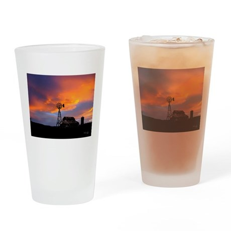 Sunset on the Farm Drinking Glass