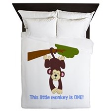 First Birthday Monkey Queen Duvet