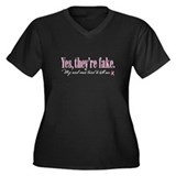 Yes they're fake Women's Plus Size V-Neck Dark T-S