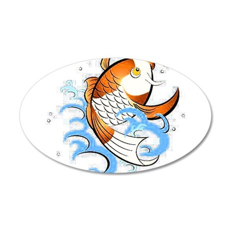 Patterned Koi 20x12 Oval Wall Decal