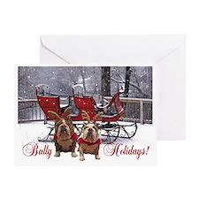 Bulldog Reindeer Christmas Greeting Card