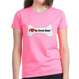 I Love My Great Dane - Dog Bone Tee