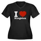 I Love Kingston Women's Plus Size V-Neck Dark T-Sh