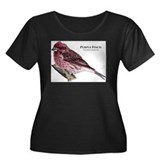 Purple Finch Women's Plus Size Scoop Neck Dark T-S